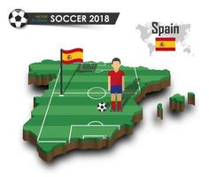 Spain national soccer team  Football player and flag on 3d design country map  isolated background  Vector for international world championship tournament 2018 concept