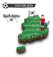 jugador de fútbol del equipo nacional de fútbol de Corea del sur y bandera en el mapa del país de diseño 3d vector de fondo aislado para el concepto del torneo del campeonato mundial internacional 2018