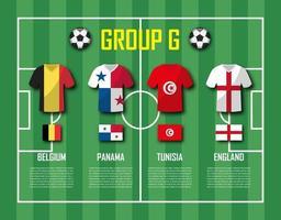 copa de fútbol 2018 equipo grupo g jugadores de fútbol con uniforme de camiseta y vector de banderas nacionales para el torneo del campeonato mundial internacional