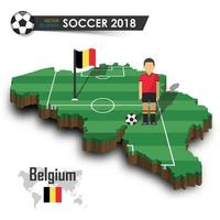 Belgium national soccer team  Football player and flag on 3d design country map  isolated background  Vector for international world championship tournament 2018 concept