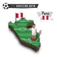 Equipo nacional de fútbol de Perú, jugador de fútbol y bandera en el mapa del país de diseño 3d vector de fondo aislado para el concepto de torneo del campeonato mundial internacional 2018