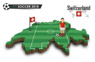 Switzerland national soccer team  Football player and flag on 3d design country map  isolated background  Vector for international world championship tournament 2018 concept