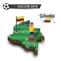 Equipo nacional de fútbol de Colombia, jugador de fútbol y bandera en el vector de fondo aislado del mapa del país de diseño 3d para el concepto del torneo del campeonato mundial internacional 2018