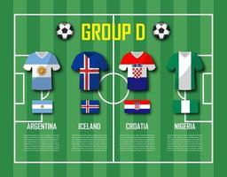 copa de fútbol 2018 equipo grupo d jugadores de fútbol con uniforme de camiseta y vector de banderas nacionales para el torneo del campeonato mundial internacional