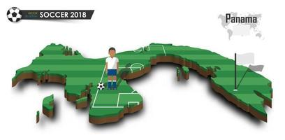 Panama national soccer team  Football player and flag on 3d design country map  isolated background  Vector for international world championship tournament 2018 concept