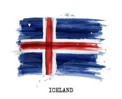Watercolor painting flag of Iceland  Vector
