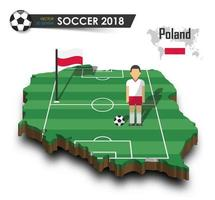 Poland national soccer team  Football player and flag on 3d design country map  isolated background  Vector for international world championship tournament 2018 concept