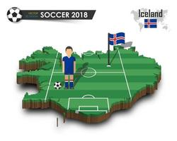 Iceland national soccer team  Football player and flag on 3d design country map  isolated background  Vector for international world championship tournament 2018 concept