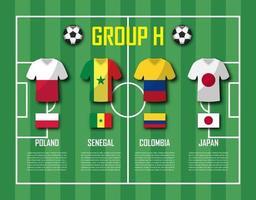 copa de fútbol 2018 equipo grupo h jugadores de fútbol con uniforme de camiseta y vector de banderas nacionales para el torneo del campeonato mundial internacional
