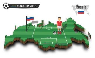 Russia national soccer team  Football player and flag on 3d design country map  isolated background  Vector for international world championship tournament 2018 concept