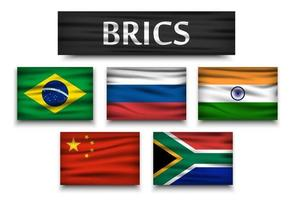 BRICS  association of 5 countries  brazil  russia  india  china  south africa   Realistic flags with isolated background vector