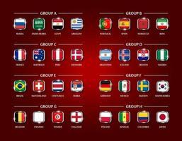 equipo de fútbol o copa de fútbol 2018 conjunto de grupo de diseño cuadrado cubierto de vidrio de la bandera nacional con borde de metal y brillo sobre fondo de color rojo vector para el torneo del campeonato mundial internacional
