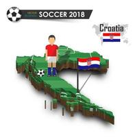 Croatia national soccer team  Football player and flag on 3d design country map  isolated background  Vector for international world championship tournament 2018 concept