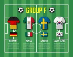 soccer cup 2018 team group f jugadores de fútbol con uniforme de camiseta y vector de banderas nacionales para el torneo del campeonato mundial internacional