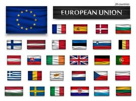 Flags of European Union and members  Wavy design  Isolated background vector
