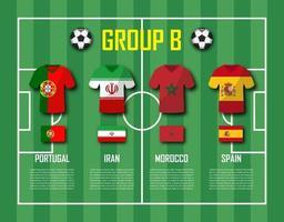 copa de fútbol 2018 equipo grupo b jugadores de fútbol con uniforme de camiseta y vector de banderas nacionales para el torneo del campeonato mundial internacional