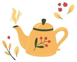 Teapot with tea and berries Tea time mug teapot and herbs fruits ingredients for drinks Autumn mood hot tea and berries Kettle tea teapot with berries and vitamins Cozy vector illustration