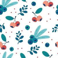 Seamless pattern with blueberries and leaves Ripe wild berries background Endless texture for kitchen wallpaper textile fabric paper Food background Summer time Healthy fruit and berries vector
