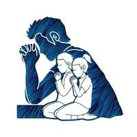 hombre, niño y niña, postrarse, oración vector