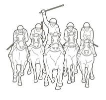Outline Group of Jockey Riding Horse vector