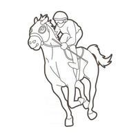 Outline Jockey Sport Race Horse vector