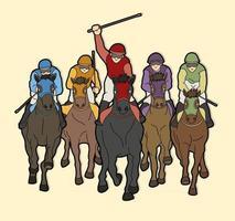 Group of Jockey Riding Horse vector
