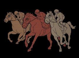 Abstract Group of Jockey Riding Horse vector