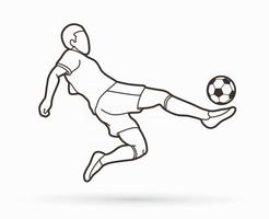 Outline Soccer Player Shooting a Ball vector
