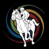Jockey Riding Horse Sport Action vector