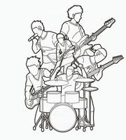 Outline Music Band Musician Team Group of Musician Playing Music Together vector