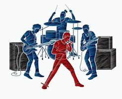Silhouette Music Band  Musician Playing Music Together vector