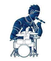 silueta, grupo, de, músico, tocar música, juntos vector