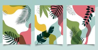 Set of cover brochure template organic shape natural tropical leaves on white background vector