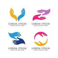 hand care logo design template vector icon