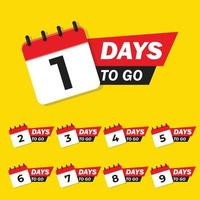 countdown 9 days left discount template vector