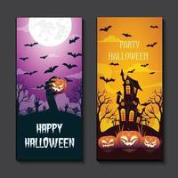 halloween background template with scary pumpkin face vector