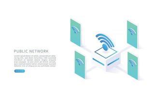Public wireless network Free internet zone and free wifi hotspot vector