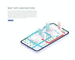 Mobile navigation application in isometric vector illustration City isometric plan with buildings road gps tracking on smartphone Map on mobile application
