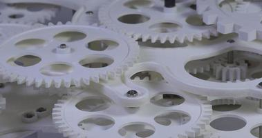 White Plastic Gears Working By Rotating video