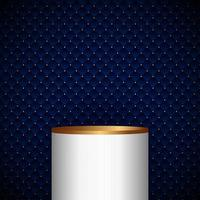 3D realistic white and gold pedestal cylinder product shelf on blue geometric squares pattern design with golden dots luxury background and texture vector