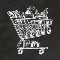 Shopping Cart Hand Drawn Retro Style Sketch Vintage Vector Illustration