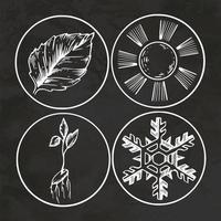 Season Symbols Engraving Hand Drawn Retro Style Sketch Vintage Vector Illustration