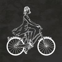 Young Woman Riding On Bicycle Hand Drawn Retro Style Sketch Vintage Vector Illustration