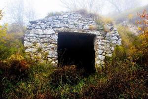 Abandoned farmhouse and fog photo