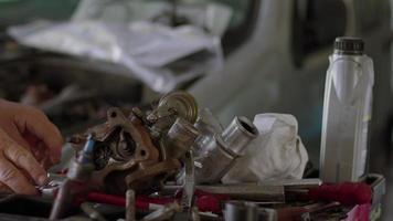 Car Mechanic Hand Socket Wrench Repairs Broken Engine Turbo Part video