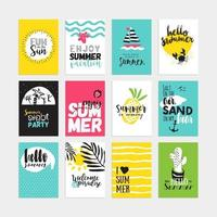 Set of hand drawn watercolor summer cards and banners vector