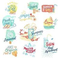 jugo de verano y carteles de bebidas vector
