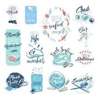 carteles de acuarela dibujados a mano de mariscos vector