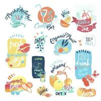 Summer Juice and Drinks Signs vector