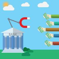 Flat design modern vector illustration concept for Bank and magnet with human hands dropping money, on color background